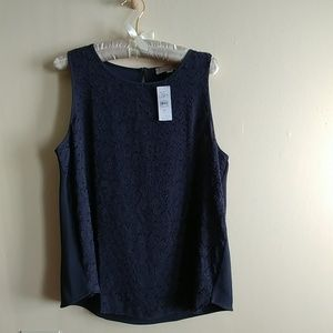 NWT LOFT Top With Lacey Detail